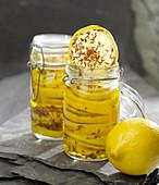 Jars of confit citrus with cumin