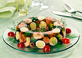 Salmon, broccoli, shrimp and hard-boiled egg quail's eggs in aspic