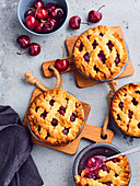 Cherry criss-cross small pies