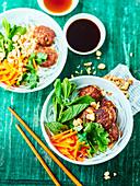 Vietnamese rice vermicelli salad with ground pork meatballs