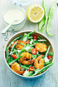 Shrimp, runner bean and green bean salad