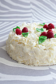 Sponge cake with vanilla punch coating, white chocolate flakes and raspberries