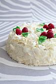 Sponge cake with vanilla punch coating, white chocolate flakes and raspberries