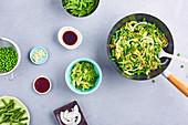 Green vegetable wok