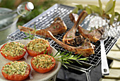 Grilled lamb chops and provençal tomatoes