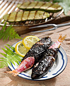 Grilled red mullets wrapped in seaweed
