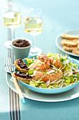 Crisp langoustine salad, black tapenade crostinis