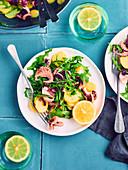 Octopus, lemon, potato and rocket lettuce salad