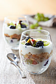 Tiramisu style glass with yogurt and autumn fruits