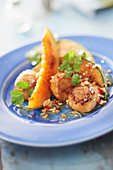 Smoked scallops, grilled melon, lime and coriander