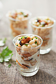 Mussel and Paimpol coconut verrine with ginger and cider