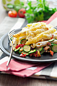 Penne and vegetable gratin