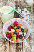 Fruit salad and coconut jelly