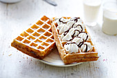 Whipped cream-chocolate and sugar Brussels waffles
