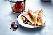 Crêpes with melted chocolate