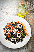 Lentil, squid and red pepper salad