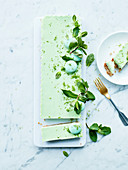 Rectangular mint and lime cheesecakes