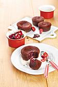 Soft chocolate cake with a griotte cherry jam center