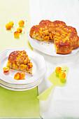 Upside-down mirabelle plum cake
