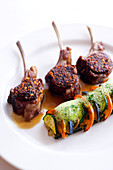 Lamb Chops Coated With Chili Pepper And Confit Tomato,Vegetable Flan Topped With Basil Emulsion