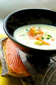 Cream of white asparagus soup with smoked salmon