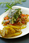 Red mullet and herb sandwich, tomato salad with olives, potatoes sauté