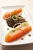 Salmon with Beluga lentils