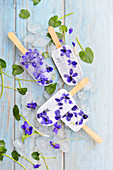 Violet water ice pops