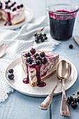 Slice of blackcurrant ice cream cheesecake