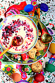 Milk and red fruit Kissel, russian Easter pudding