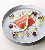 Raw Salmon Fillets With Black Radish Mousse,Diced Beetroots And Cucumber,Yuzu Aspic Drops By Jean-Yves Schillinger