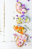 Fromage frais, vegetable and flower open-sandwiches