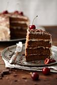 Sliced Black Forest-style Paradise cake