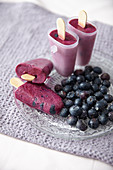 Homemade blueberry ice cream bars