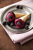 Blackberry sorbet ice cream cones
