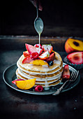 White chocolate pancakes with summer fruits