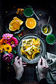 Crepes with ricotta cheese, passion fruit and orange