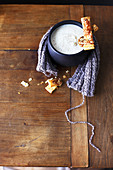 Cream of cauliflower soup,grilled tomato flaky pastry fingers