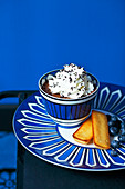 Chocolate mousse with whipped cream,Financiers