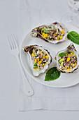 Oyster,cucumber and mango tartare