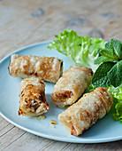Chicken nems,lettuce and fresh mint