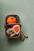 Basket of potatoes,orange lentils and pumpkin