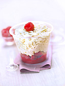 White chocolate mousse with raspberry coulis
