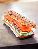 Smoked salmon, cucumber, red onion and fromage frais 6 cereal bread sandwich