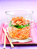 Noodle, grated carrot, sweet pea and shrimp salad to take-away
