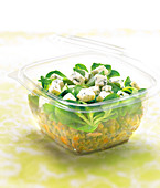 Lentil, carrot, bacon, sweet corn lettuce and Roquefort salad to take-away