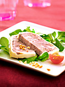Slices of chicken liver terrine