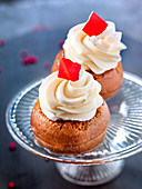 Mini Rum Babas with whipped cream