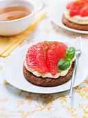 Shortbread, confectioner's custard, grapefruit and basil tartlet