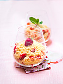 Semolina with strawberries and mint